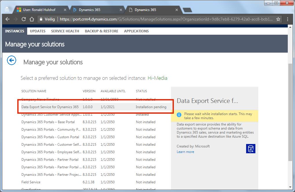 D365 – Install Data Export Service – Ronald Hulshof